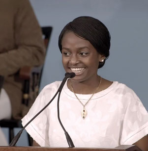 Eunice Mwabe '19 was one of two student orators for Harvard's Class Day. During her address on May 29, she encouraged recent grads to interact actively with people of diverse backgrounds.   Mwabe, who served as co-president of Christian Union in 2018-19, penned her speech as a reflection of her experiences as a foreign student at Harvard. Rather than operating in an echo chamber, the Kenyan urged classmates to spend time with people from a variety of backgrounds and seek out new experiences. Mwabe especially implored members of the Class of 2019 to show empathy to the disadvantaged and marginalized.